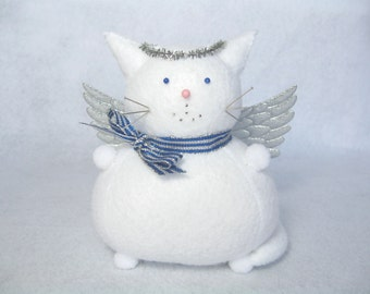 White angel cat, Felt cat pincushion, Silver angel wings, Cat lover gift, Holiday decorations, Cute stuffed cat, Sewing accessory, IN STOCK