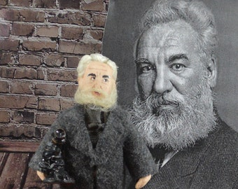 Alexander Graham Bell Doll American History Figure Inventor of Telephone Miniature Sized