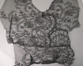 Antique lace bodice remnant Victorian chantilly lace
