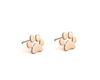 Cute Animal feet Palm Rose Golden Stud Earring Post Finding (ET068C)