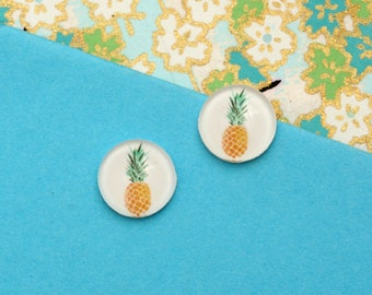 10pcs handmade pineapple round clear glass dome cabochons 12mm (12-0675)