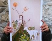 "Large print of Mori deer girl, A3 format 11""x16"" /28x35cm/"