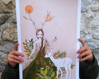 "Large print of Mori deer girl, A3 format 11""x16"" /28x35cm/"