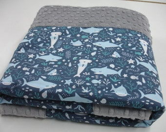 Sharks are Friends Minky Blanket You Choose Size MADE TO ORDER No Batting