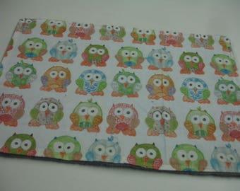 Short Legged Owls Minky Burp Cloth 10 x 14 READY TO SHIP On Sale