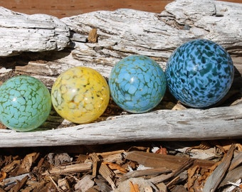 Set of 4 Colorful Hand Blown Glass Floats, Garden Balls, Gazing Orbs In Shades of Blue, Green and Yellow
