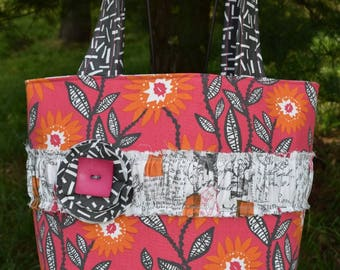 """The """"EVERY DAY"""" Tote Bag in bright pink, orange, grey floral prints"""