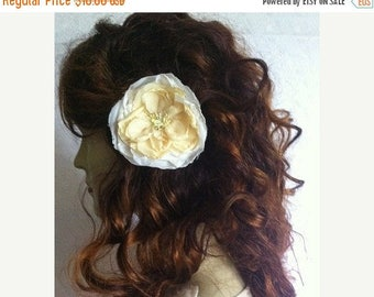 CLEARANCE - Yellow ivory floral hairpin, fabric flower hairpin, flower hairpin, hair accessory, womens accessory