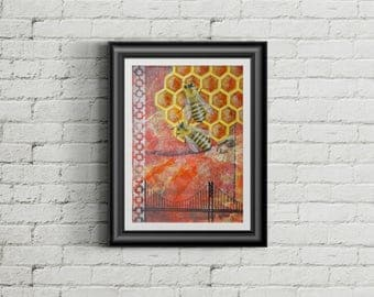 Hive - Giclee Fine Art Print Mixed Media Painting