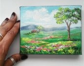 "Small Oil Painting House in Flower Field 4"" x 5"" READY to SHIP"