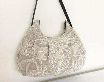 Pleated Bag // Shoulder Purse - Barker Gray Floral Embossed