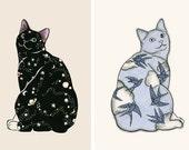 Ensemble de la vente de deux tirages d'Art chat - Galaxy chat et chaton ciel - 8,3 x11.7 impression = affiche format A4