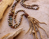 RESERVED +Nontraditional Mala + Prayer Beads + Hand Knotted Baroque Pearls + Rudraksha, Tulsi, Turquoise, Amber, Juniper Seed, Ancient Agate