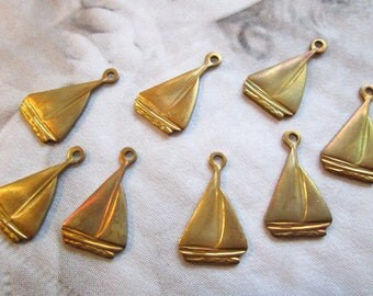 Brass Sailboat Charms - 8 Pieces