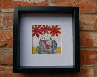 wall art decor, original wall decor, original wall art, mixed media collage of paper, hand printed fabric, gift for the home, Cup and Saucer