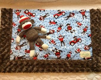 Sock Monkey Baby Blanket with Stuffed Sock Monkey Toy