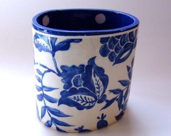 Delft Blue floral pottery kitchen Utensil Holder  :) home decor, large oval ceramic hand painted flower vase w/ indigo blue & white