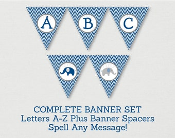 Elephant Baby Shower Banner / Elephant Baby Shower / Navy & Grey / Chevron Pattern / Letters A-Z / DIY Pennant Banner INSTANT DOWNLOAD