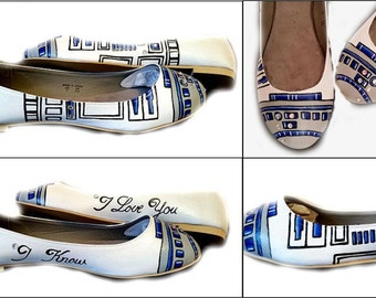 R2D2 Wedding Flats, Wedding, Flats, Star Wars, Bride, Bride Shoes, Geek, Sci Fi, Prom, Home Coming, Shoes Included