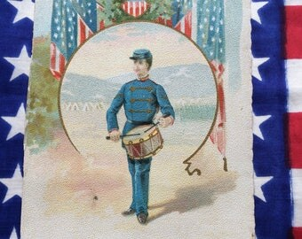 Victorian Trade Card Patriotic Civil War Soldier Drummer Vintage Litho Otto Ulbrich Bookseller