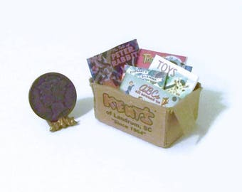 Dollhouse Miniature Tattered Box of OLD KIDS BOOKS
