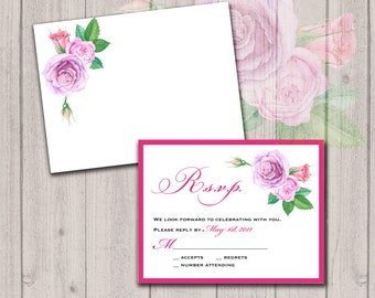Watercolor roses inserts, set of 25