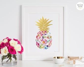 Pineapple Art Print, Pineapple in Gold Watercolor, Digital Printable Art for Office Decor Baby Girl Nursery, Baby Shower Gift Mother's Day