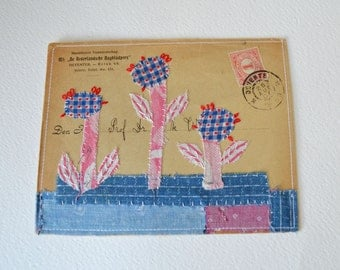 SALE>>>Envelope ARTWORK ORIGINAL : stitched/collaged vintage envelope