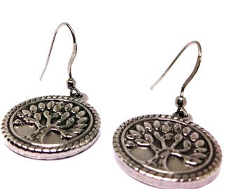 316L Stainless Steel Tree of Life Earrings- Stainless Ear Wires, Nature Lovers Gift, Sybolism Jewelry, Mothers Day, Stainless Steel Jewelry