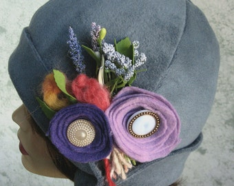 Womens Flapper Style Hat Soft Blue Grey Fleece Victorian Era Fashion Hat With Floral Bouquet And Brim Chemo Hair Loss Hat Head Sz 21- 23