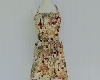 Adult BBQ Style Apron / Tuscany / Italy / Wine Bottles / Tan and Wine / Teens Apron / Full Apron / Butcher Style / Bridal Gift / Hostess