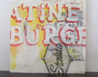 Starlite Burg- typography, art, design, signage, vintage, americana, resin, screenprint, food, wall art decor,
