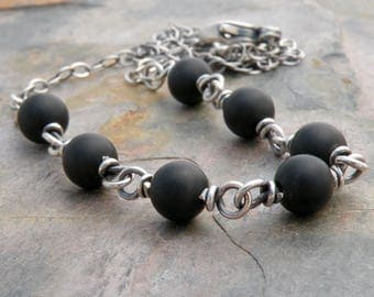 Matte Black Onyx Necklace, Sterling Silver, Black Stone Necklace, Layering Necklace, Black Onyx Necklace for Women, Black Stone Beads  #4692