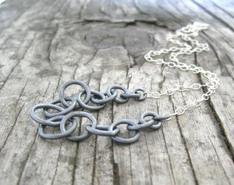 silver necklace, metalwork, sterling chain, torch fused fine silver rings, minimalist silver necklace