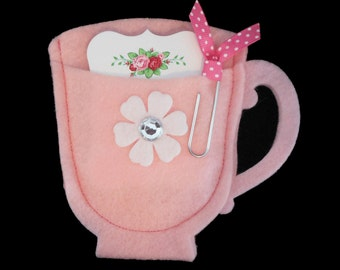 Bridal Shower Favors - Baby Shower - Tea Cup Favors - Note Card Favor - Felt Tea Cup - Favor Bag - Favor Holder - Pink