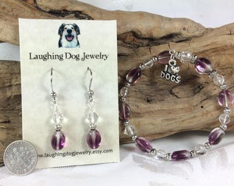 Purple Glass Bracelet and Earrings Set with Dog Lover Charm