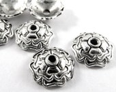 25 Antique Silver Bead Cap 5 Petal Domed Flower Plated Zinc Alloy 9x3mm 1mm Hole - 25 pc - F4197BC-AS25