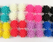 BOGO - 32 Flower Cabochon Dahlia Resin Jumbo Assortment 15mm - No Holes - 32 pc - CA2016-AS44 - Buy 1, Get 1 Free - No coupon required