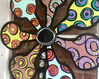 Flower Door Hanger, Metal Flower Door Decoration, Flower Wreath, easter door hanger, unique Mother's Day gifts