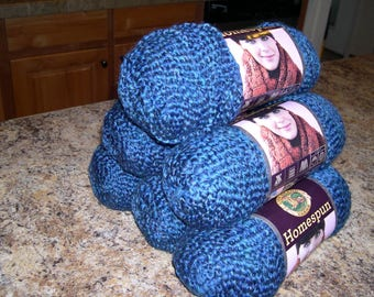 Blue Yarn / Lion Brand / Homespun / Colonial / color #302 / Six Skeins