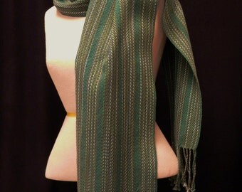 Handwoven Cotton Teal Green Twill Scarf