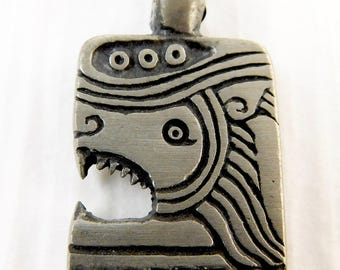 Stylized Pewter Lion Head Pendant