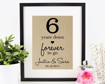 6th Wedding Anniversary Gift For Husband : to Go 6th Sixth Wedding Anniversary Personalized Burlap Print Gift ...