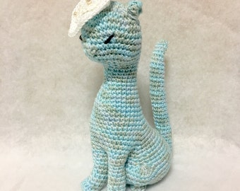 Amigurumi Cat / Crocheted Cat --- Classy Cat - Baby Blue