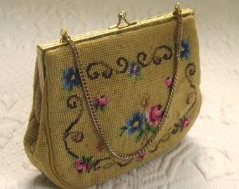 Vintage  needlepoint bag . little needlepoint purse . evening purse . needlepoint clutch . needlepoint evening bag