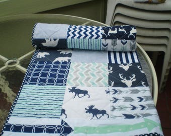 Baby Quilt, baby deer quilt, Baby Boy Bedding, Baby Girl Quilt, crib quilt, Woodland, mint, grey, navy, Bear, Moose, Arrow- And Bullwinkle3