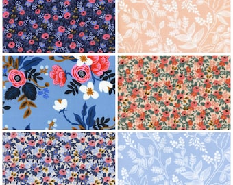 rifle paper co fat quarter bundle, les fleurs FQ bundle, rifle paper les fleurs, quilting cottons, floral quilt fabric, modern quilt fabric