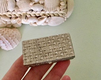 Antique Tiny Leather Stamp Box Silver Pill Box