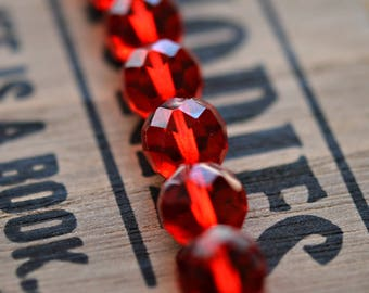 Ripe For The Picking - Premium Czech Glass Beads, Transparent Siam Ruby, Facet Firepolish Rounds 12mm - Pc 4