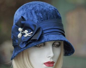 20's Cloche Hat, Evening Hat, Wedding Fancy Formal Hat, Miss Fischer Hat, Dressy Blue Velvet Size Small